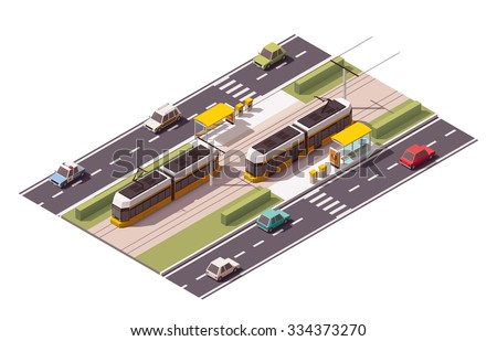 Isometric icon representing tramway station - stock vector