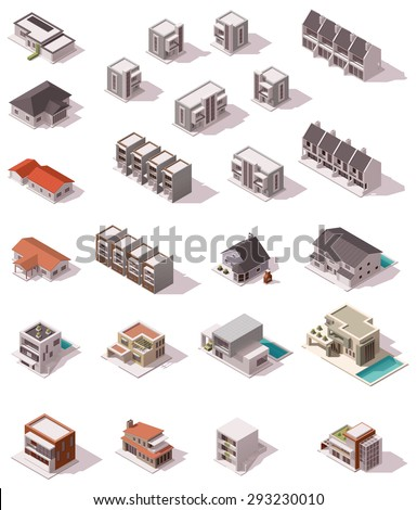 Isometric icon set representing houses with backyards - stock vector