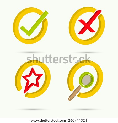 Isometric icons. Collection of four icons. Confirmation. Cancellation. Star. Search. Vector illustration - stock vector
