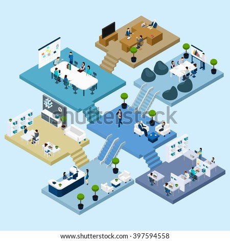 Isometric icons of multistoried office center with abstract scheme of floors rooms and activities vector illustration - stock vector