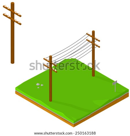 Isometric Icons of Power lines delivering energy. Power Lines Isometric Power Lines on land. - stock vector