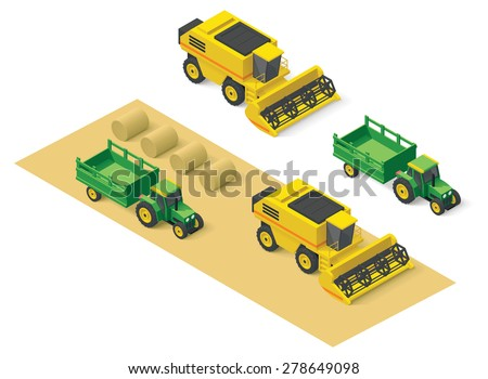 Isometric icons representing combine harvester and tractor - stock vector