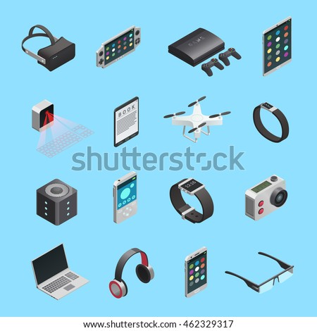 isometric icons set of different electronic gadgets for playing music photo and other functions isolated