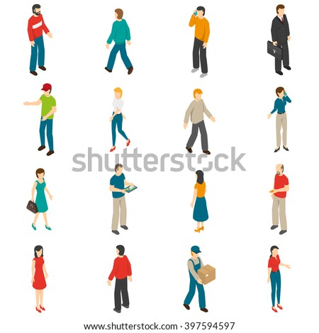 Isometric icons set of different people diverse by job education level sex clothes hairs isolated vector illustration - stock vector