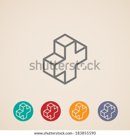 isometric icons with addition sign - stock vector