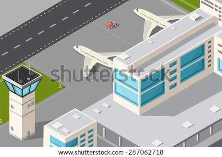 Isometric illustration city airport with aircraft control tower, terminal building and runway. - stock vector