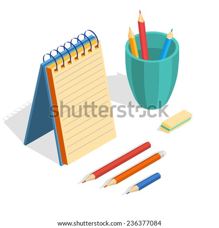 Isometric illustration of an empty notebook, pencils and eraser on a white background. Vector illustration. - stock vector