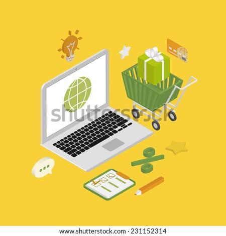 Isometric illustration of online shopping using laptop - stock vector