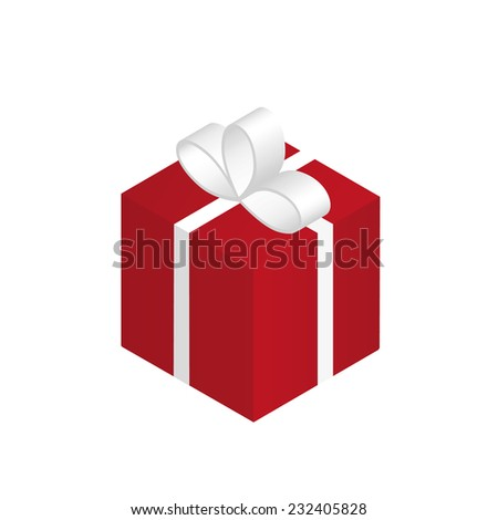 Isometric illustration of red christmas gift. Isolated on white - stock vector