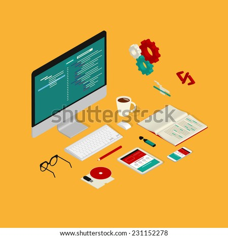 Isometric illustration of website coding process with computer, smartphone and tablet pc on yellow background - stock vector