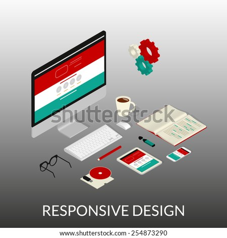 Isometric illustration of website development process with computer, smartphone and tablet pc - stock vector