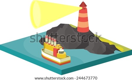 isometric illustration seascape lighthouse lights the way the ship - stock vector