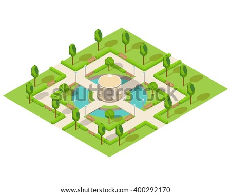Isometric illustration with the image of park with benches and trees
