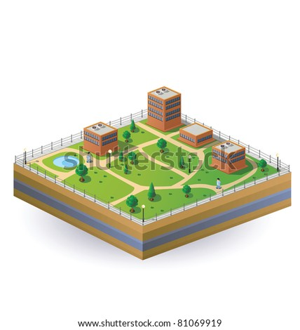 Isometric image of a fragment of the city on a white background
