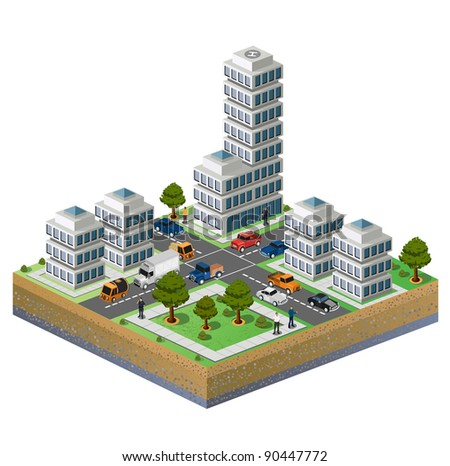 Isometric image of a fragment of the city on a white background - stock vector