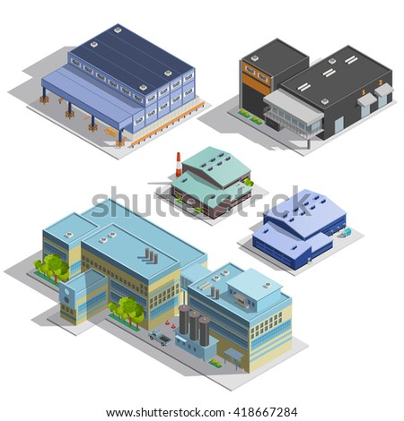 Isometric images set of different types of warehouse factory manufacture office buildings isolated vector illustration