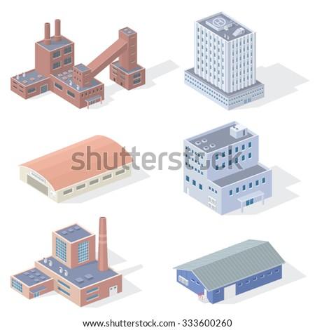 Isometric Industrial Buildings - stock vector