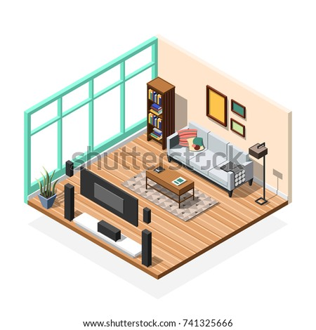 Isometric Interior Composition With Furniture Rooms Sofa Tv Set Book  Cabinet And Floor To