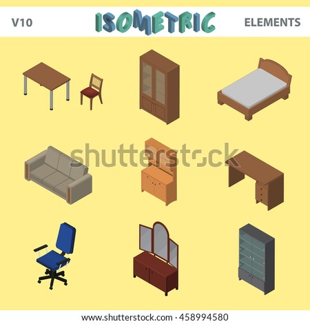 Isometric interior elements, furniture, sofa, chair, table, desk, office chair, shelf, cupboards - stock vector