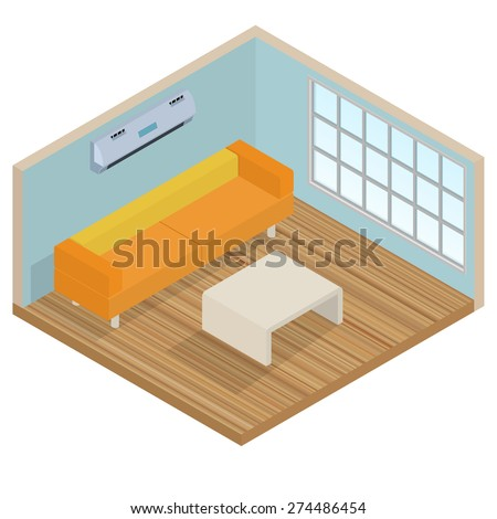 Isometric interior lounge room - stock vector