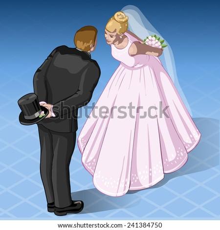 Isometric Kissing Wedding Couple. Wedding Icon. Wedding JPG. Wedding JPEG. Picture. Wedding Image. Graphic. Art. Wedding Illustration. Drawing. Object. Wedding Vector.Wedding  EPS. Wedding AI. - stock vector