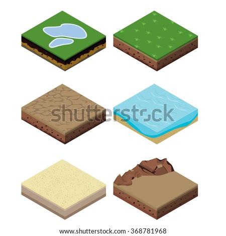 isometric landscape design - stock vector
