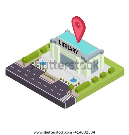 Isometric Library vector illustration