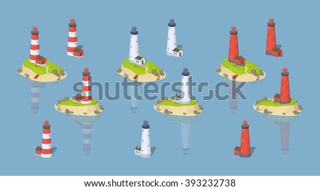 Isometric lighthouses collection. Isometric lighthouses set. Vector isometric lighthouses. Isometric 3d lighthouses. Isometric low poly lighthouses. Isometric cartoon lighthouses. - stock vector