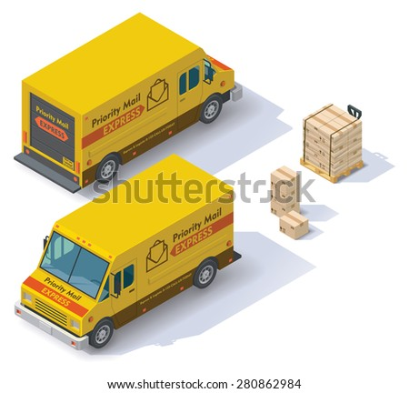 Isometric mail step van front end rear view - stock vector