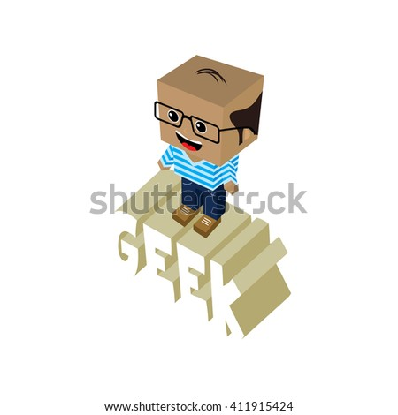 isometric male geek cartoon character theme vector art illustration