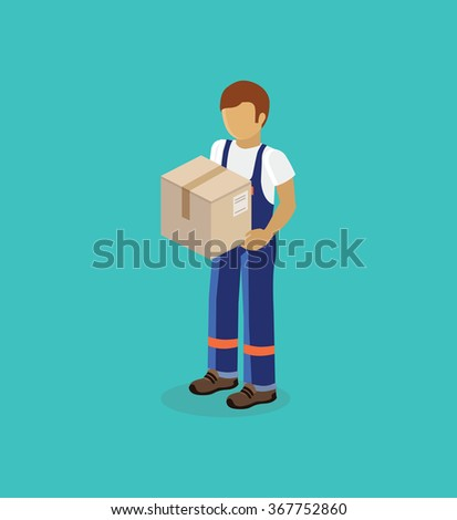 Isometric man delivery of box isolated design. 3D Delivery man, delivery icon, free delivery, courier service delivery, business delivery, box parcel, postman delivery express, delivery package - stock vector