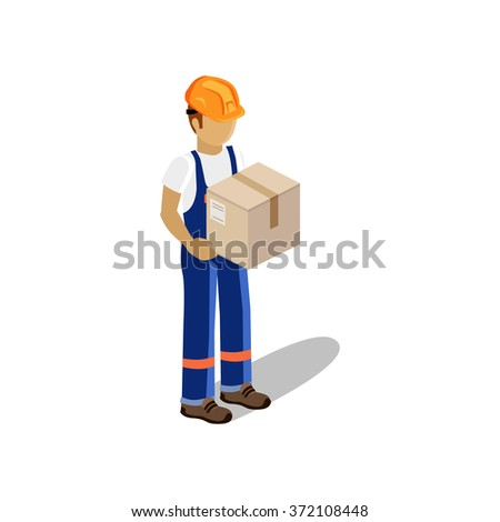 Isometric man delivery of goods isolated design. 3D Delivery man, delivery icon, free delivery, courier delivery, service delivery box, fast delivery, person parcel delivery, express delivery, postman - stock vector