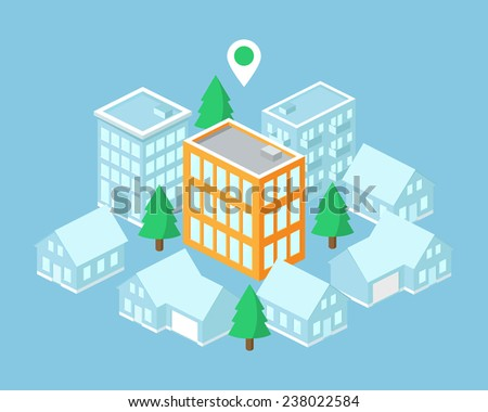 Isometric map, building with pointer. Vector illustration