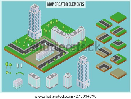 Isometric map creator elements for city building. 3d skyscrapers, buildings, trees and road elements. Vector illustration.