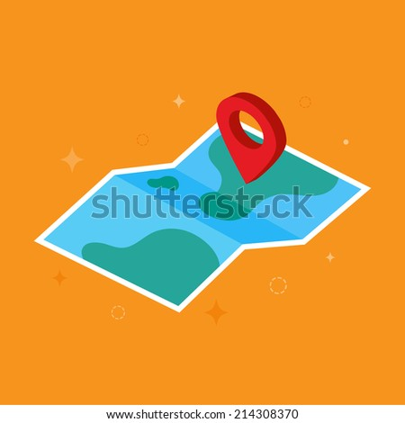 Isometric map icon - stock vector