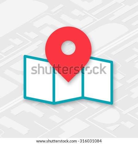 Isometric map icon with red pin pointer in the center - stock vector