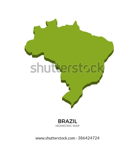 Isometric map of Brazil detailed vector illustration. Isolated 3D isometric country concept for infographic - stock vector