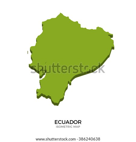 Isometric map of Ecuador detailed vector illustration. Isolated 3D isometric country concept for infographic - stock vector