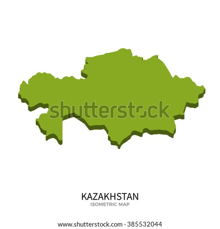 Isometric map of Kazakhstan detailed vector illustration. Isolated 3D isometric country concept for infographic
