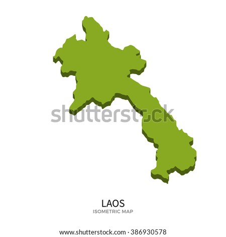 Isometric map of Laos detailed vector illustration. Isolated 3D isometric country concept for infographic - stock vector