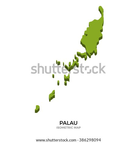 Isometric map of Palau detailed vector illustration. Isolated 3D isometric country concept for infographic