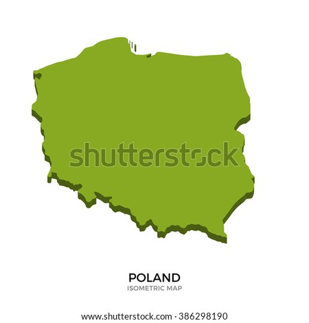 Isometric map of Poland detailed vector illustration. Isolated 3D isometric country concept for infographic - stock vector