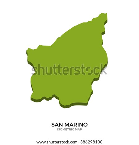 Isometric map of San Marino detailed vector illustration. Isolated 3D isometric country concept for infographic - stock vector