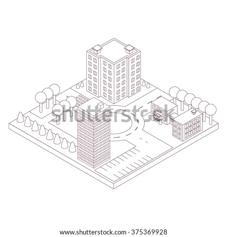 Isometric map of the area. Linear style. High-rise building and a school. Park with trees next to the road and intersection. Office and residential building. Black outline. Vector illustration. - stock vector