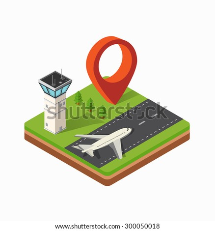 Isometric map of the city's airport, the trees and the flight of construction  - stock vector