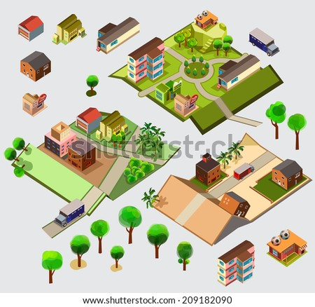 Isometric Map set. custom map vector illustration - stock vector