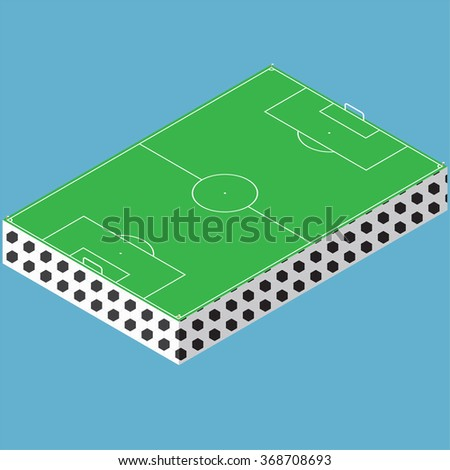 Isometric markings of a football field.