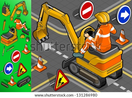 isometric mini excavator with man at work in rear view - stock vector
