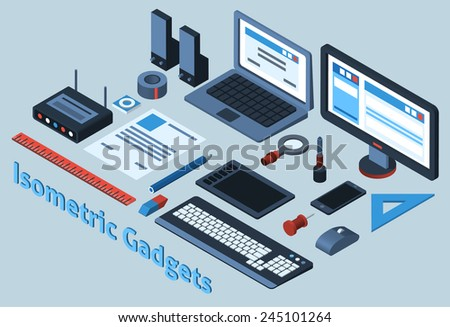 Isometric mobile gadgets set with 3d stationery objects isolated vector illustration - stock vector