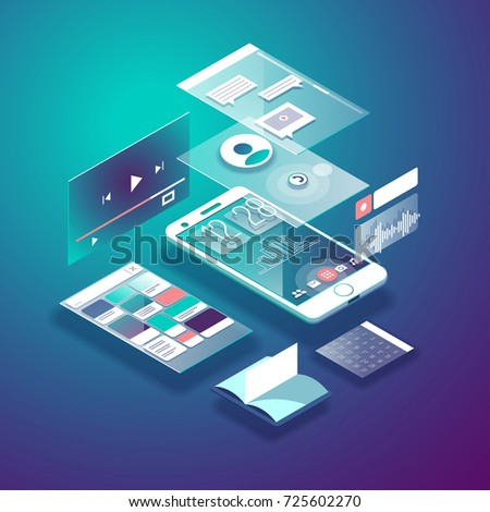 Isometric mobile phone. Smart and simple web interface with different apps and icons. 3d vector illustration.